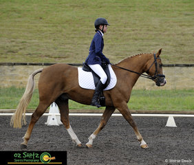 Entering the dressage arena for the EvA60 Junior class was Tiah Shaw on horse Whimpys Lightening at the Sydney Eventing Summer Classic.