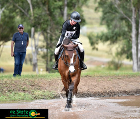 Proud of her achievments to get into the water complex is Laura Slowey and her talented Finch Farm Calcutta at the Sydney Eventing Summer Classic.