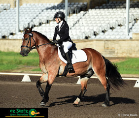First out in the EvA60C Junior was Charlize Gil and Max completing their dressage test in the Olympic Arena at the Sydney International Equestrian Centre on the first day of the Sydney Eventing Summer Classic.