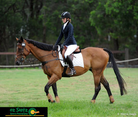 After a fabulous clear round in the EvA60 Junior class putting them in first place after the jumping, Tahlia Cowan on Tennessee Whiskey walk out of the arena relaxed and pleased with their efforts at the Sydney Eventing Summer Classic.