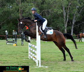 Sitting in 5th place after her dressage and show jumping round was Tara Rogers riding Maloo in the EvA80B at the Sydney Eventing Summer Classic.