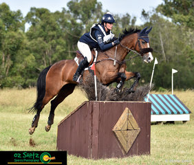 Riding through the double diamonds combination in the CCN2 Star cross country beautifully was Teegan Ashby and her horse Waitangi Password at the Sydney Eventing Summer Classic.