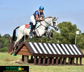 The stunning grey Lakeview Albion makes the CCN3 Star rustic hut look easy with Jess Sommerfield in the saddle at the Sydney Eventing Summer Classic. .