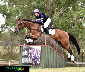 Matching with the horses rug on the jump was Shenae Lowings in her CCN4 Star cross country round, riding her horse Lushious Lexie at the Sydney Eventing Summer Classic.