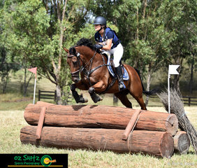 Over the pyramid log in the EvA80C Georgia Schofield on her 12yr old Thoroughbred Gelding, Attitute Pays during the Sydney Eventing Summer Classic.