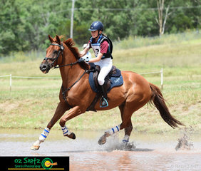 Mount Baron with his new rider, Bridgette Dalmau compete together in the EvA80D Junior class at the Sydney Eventing Summer Classic..