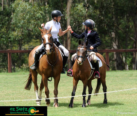 Celebrating their clear rounds in the EvA95 Show Jumping were Charlotte Hawkins and Melkiyana Mac (left) and Poppie Gorton on Fots Farm I Spy (right) at the Sydney Eventing Summer Classic..