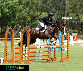 The flashy Ripleys Dream takes rider, Damian O'connell through the first element of the combination on the EvA95 Show Jumping course.