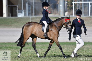 Mia Skinner was on the end of the line and Jett Skinner rode Katrina Towns', 'Gemsfield Twice Shy' to win the class for Leading Rein Show Pony.