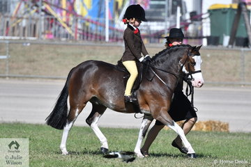 Charlie Hunt was on the end of the lead and Maison Hunt rode the Argyl Stud and Andrea Merry nomination, 'Splash Dance' to win the class for Leading Rein Show Hunter Pony.