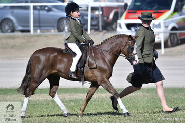 Amanda Hay's charming, 'Eagle Park Achilles' took third place in the class for Leading Rein Show Hunter Pony.