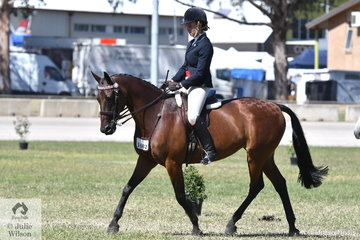 Aimee Mannix rode her, 'Nagnamimous KP Equine' to win the class for Ridden Standardbred' on the final day of the 2019 ACTewAGL Royal Canberra Show.