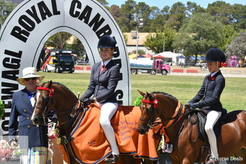 Sophie Kootstra rode Michelle Paynter's, 'Rokewood Tiger Moth' to claim the Child's Pony Championship. The Harper-Purcell, De Jong, Duddy and Johnson nomination, 'Silkwood Heaven For Sure' was declared Reserve Champion. They are pictured with  judge, Joanne Bensley.