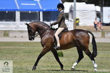 Isabella Tyson rode the Tyson Family's, 'Fremantle' to win the Child's Show Hunter Hack 15-16hh class and go on to claim the Child's Hunter Hack Reserve Championship.