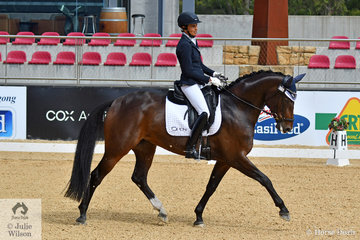 Deborah Oliver rode 'Highfields Bella Vita' to second place with 70.43% in the Otto Australia Medium 4b on day one of the second great weekend of dressage competition at the CDI 4* Dressage By The Sea.