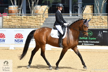 Lawyer and successful dressage rider, Jodie Newall rode, 'The Royal Huntsman C' to take fifth place with 66.82% in the Otto Australia medium 4B.