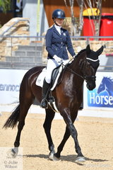 Alexandra McCormack is pictured aboard, 'Sambala' during the Otto Australia Medium 4b on day one of the second week of Dressage By The Sea CDI4*.
