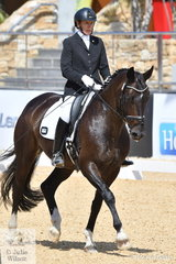 Well known NSW dressage rider, Ann Behringer is pictured abaord , 'Rosehill Rhythm' during the Otto Australia Medium 4b.