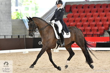 Queensland Dressage rider, Jenny Gehrke rode, 'Senator Nymphenburg' in the Netier Prix St Georges CDN conducted in the magnificent indoor at Willinga Park.