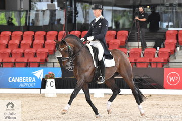 Resident dressage professional and Australian international rider, Brett Parberry rode Terry Snow's imported stallion, 'Sky Diamond' to third place in the Netier Prix St Georges CDN with 69.58%.