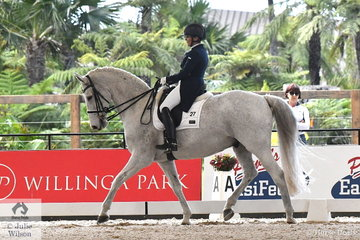 Jan Smith and 'Belcam Cadel' are pictured during the Netier Prix St Georges CDN.