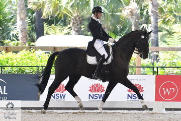 """Talented young Queensland rider, Jayden Brown rode the L George Family Trust's recently imported, 'Davinci L' to win the Netier Prix St Georges CDN  with 73.94%. """"Davinici L' has had great success overseas including taking second place second place in the World Young Horse Championships."""