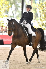 Matilda Carnegie from Victoria is pictured aboard her own, 'Devil's Chcolate' during the Netier Prix St Georges CDN.