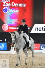 Zoe Dennis is pictured aboard her  well performed, 'Glogau' during the Netier Prix St Georges CDN.