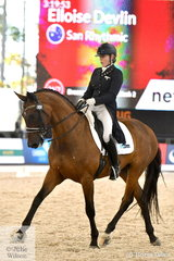 Eloise Devlin is pictured aboard, Sally Devlin's, 'San Rhythmic during the Netier Prix St Georges CDN on day one of week two of Dressage By The Sea CDI4*.