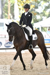 Rosann Tyler is pictured aboard her, 'Sandro Bliss' that took eighth place in the Netier Prix St Georges CDN with 66.47%.