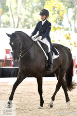 Dedicated NSW dressage rider, Shaun France is pictured aboard her 'Rionnarc' during the Netier Prix St Georges CDN.