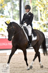 Eliza Cullen is pictured aboard her own imported Dutch mare, ''Dobria De Jeu' during the Netier Prix St Georges CDN.