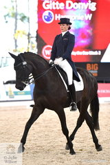 Gitte Donvig rode her mother, Mary Hanna's imported, 'Harmonie W' to take fourth place in the Netier Prix St Georges CDN with 68.91%.