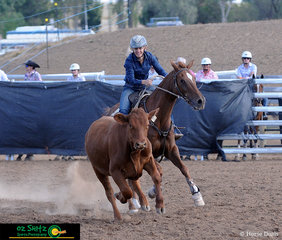 Scoring an 87 in the Ladies Campdraft at the Australian Stock Horse Nationals held in Tamworth was Susanna Kirkby and she rode Kirkbys Stud Contender.