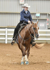 Kat McLeod riding Thiswimpyrocks winning the Junior Horse Reining
