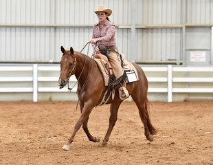 Triandibo Super Diva competing in Open Ranch Riding with Trish Wettenhall