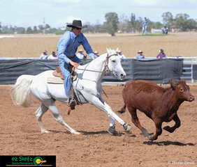 Competing in the Novice Campdraft at the 2019 Australian Stock Horse Nationals is Lachlan Sim and Willdraft Tribute..