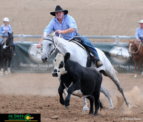 Dennis Hawkins and Clairvale Cracker Jack chased down a respectable score of 90 in the Novice Campdraft..