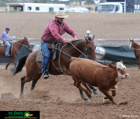 Novice Campdraft competitor Grand Miles and Main Camp Georgia head around the first peg.