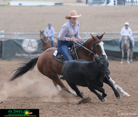 Gracing the Novice Campdraft arena on the first day of competition for the ASH Nationals was Meagan MacIntosh and Hany Impression.