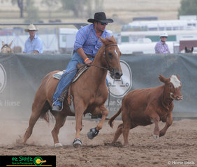 Finishing on a score of 88 in the Novice Campdraft was Brent Smyth on Clarke Family Scandal.