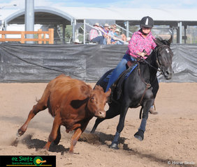 Heading out of camp in the Ladies Campdraft was Lynne Lennox-Bradley and Evanspark Royal Routine...