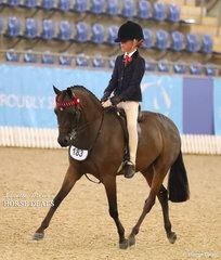 "Runner Up Child's Medium Pony of the Year ""Merivale Park Rememberance"" ridden by Olivia Carter."