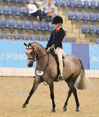 "Isabel Duke riding the Runner Up Child's Large Pony of the Year ""Mirinda Lancelot""."