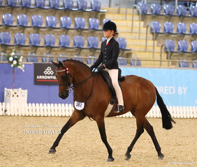 """Elka Petersen riding """"Uhavta Jackpot"""" in the Child's Large Galloway of the Year event."""