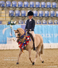"""Elizabeth Taylor rode """"Kenda Park Strauss"""" to win the Child's Small Hunter Pony of the Year title."""