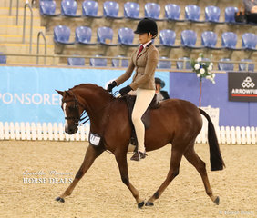 "Working out in the Child's Medium Show Hunter Pony of the Year event is ""DP Derby"" and Mia Skinner."