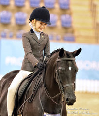 """Emma Hutchinson was thrilled to be called forward on """"Springtime Park Exclusive Footage"""" -  the Runner Up Child's Large Hunter pony of the Year."""