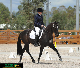 Highplains Compadre tracking up for Vicki Camilleri in the Preliminary 1B class on Saturday at the Australian Stock Horse National Show at AELEC.