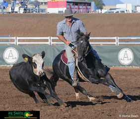 Competing in the Maiden Series Campdraft was Jay Charnock and Struan Parks Just A Moment at the 2019 Australian Stock Horse National Show.